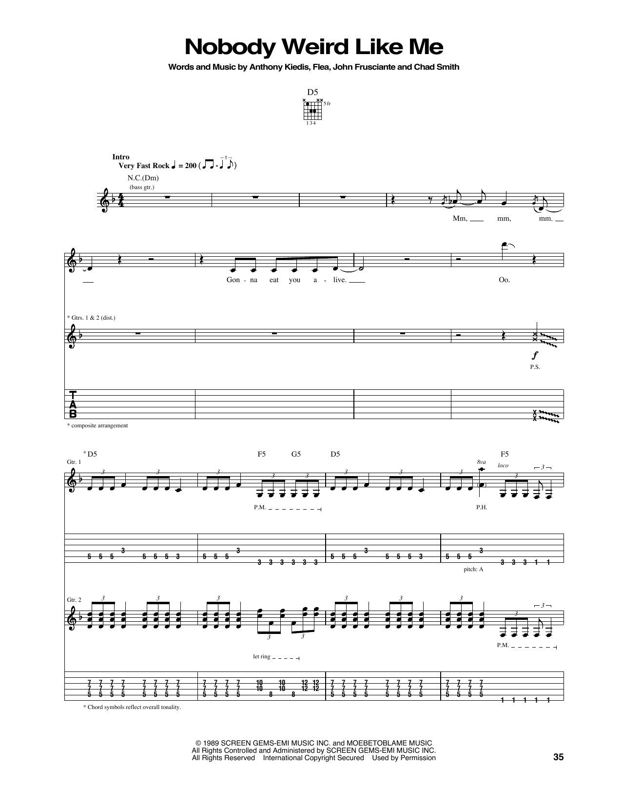 Nobody Weird Like Me Sheet Music Red Hot Chili Peppers Guitar Tab