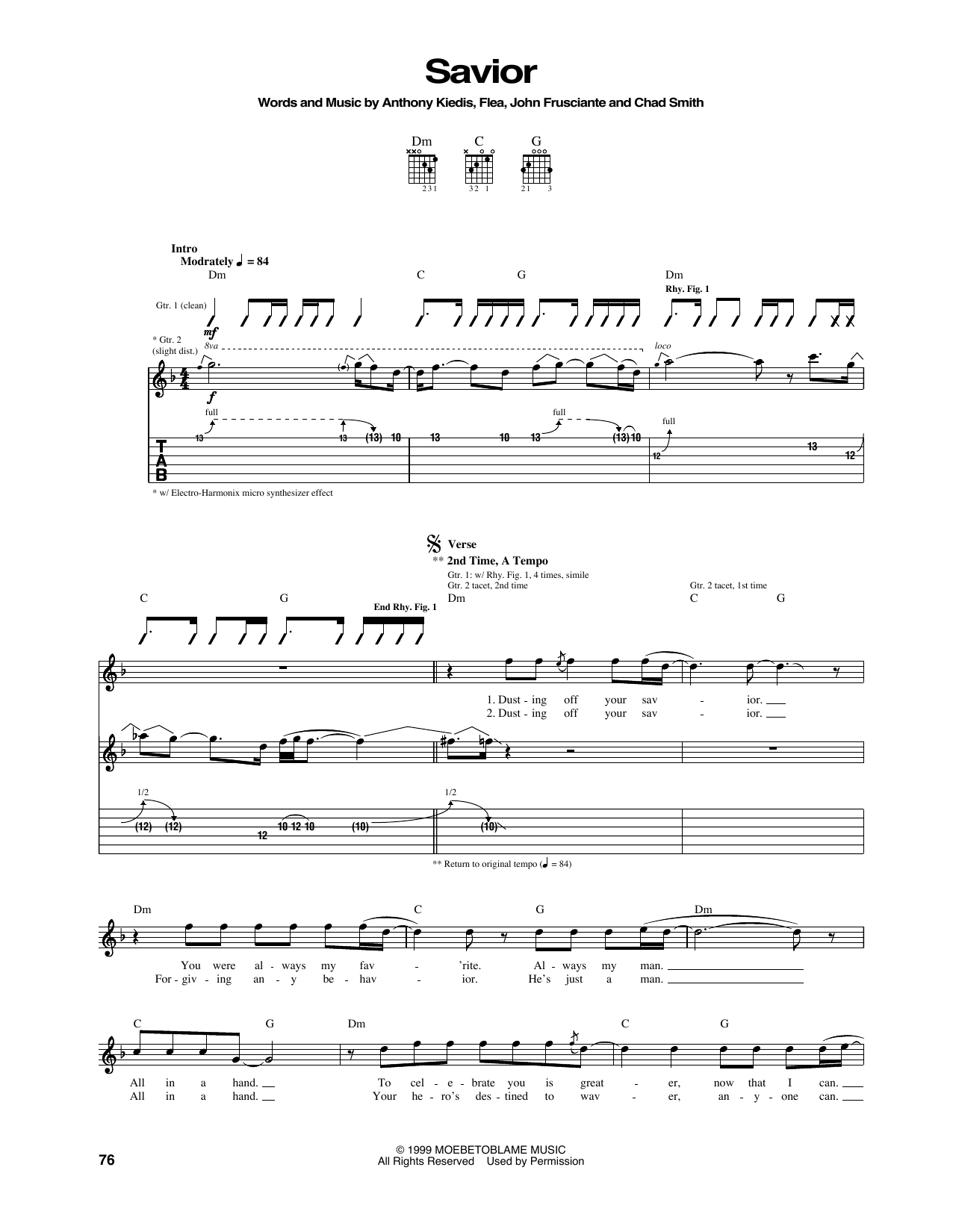 Tablature guitare Savior de Red Hot Chili Peppers - Tablature Guitare