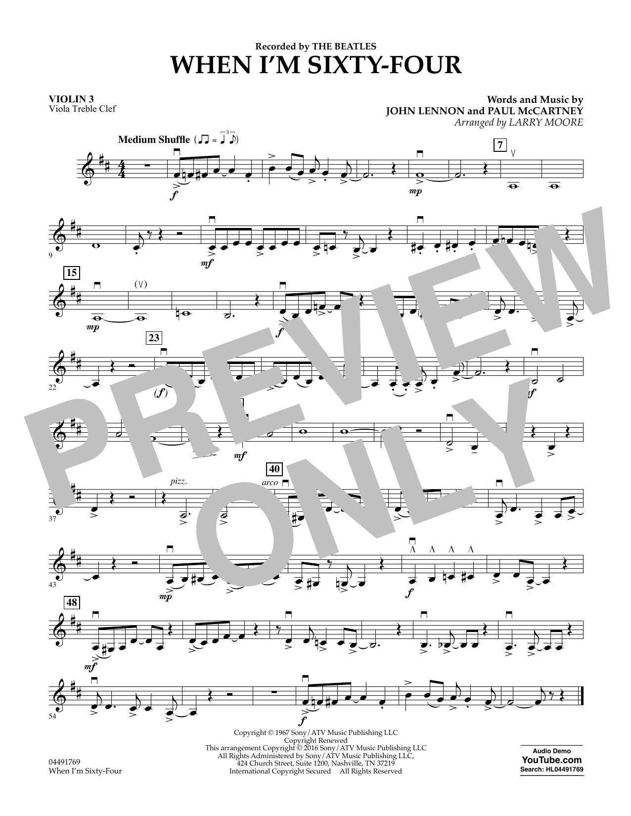 When I'm Sixty-Four - Violin 3 (Viola Treble Clef) (Orchestra)