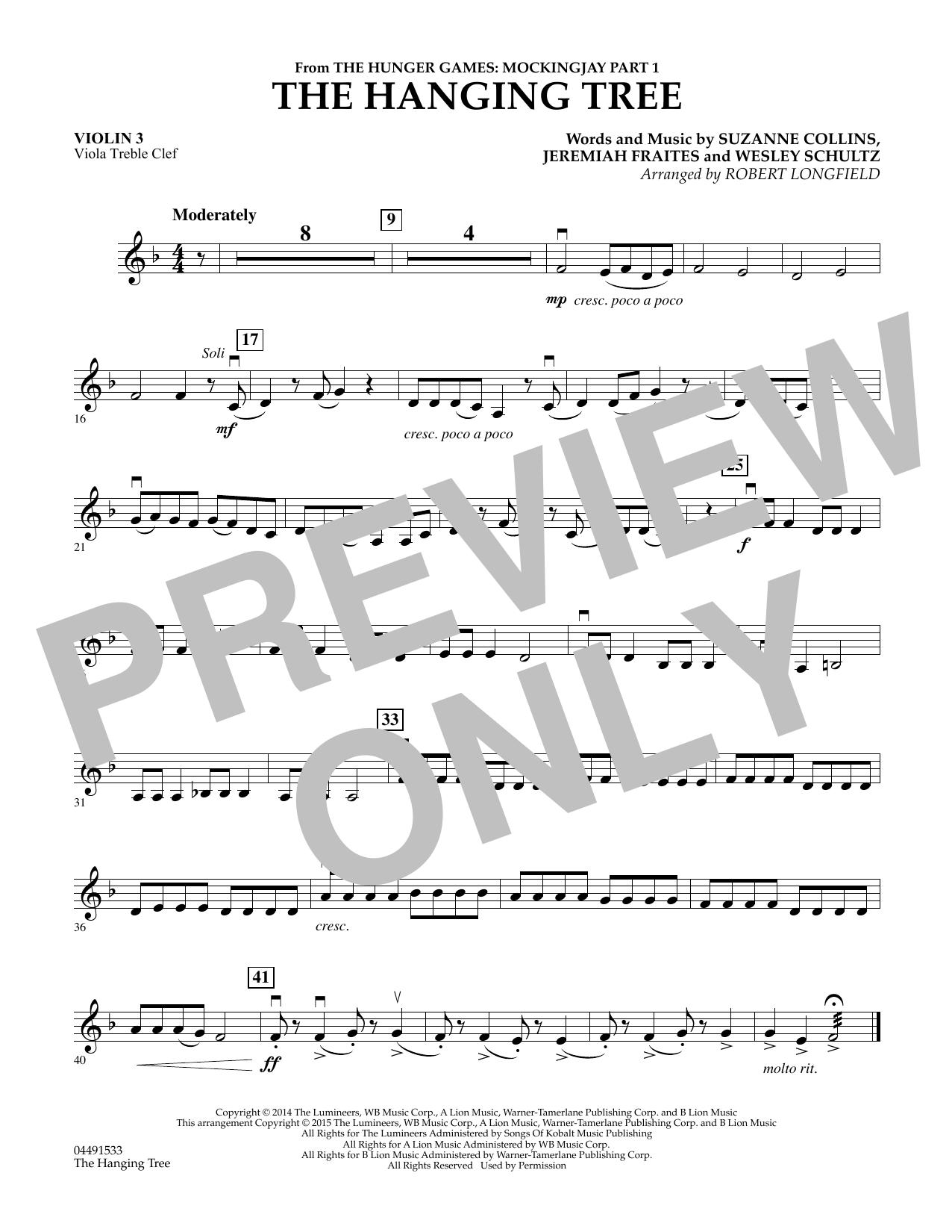 The Hanging Tree - Violin 3 (Viola T.C.) (Orchestra)