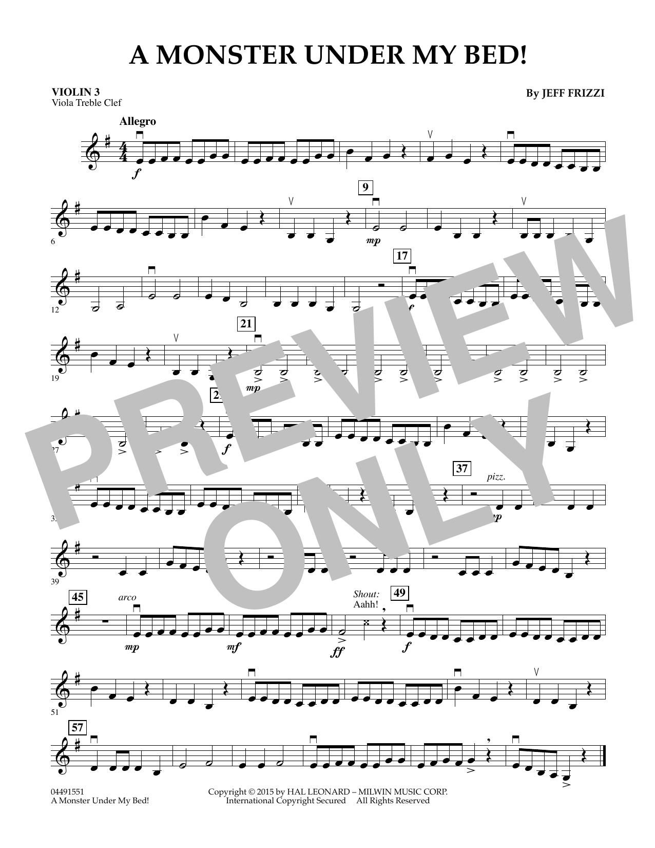 A Monster Under My Bed! - Violin 3 (Viola Treble Clef) (Orchestra)