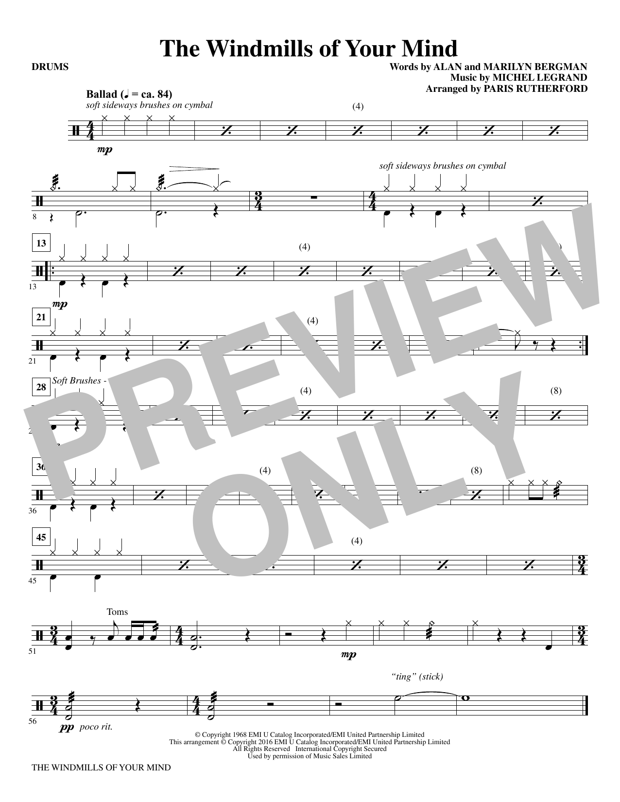 The Windmills of Your Mind - Drums Sheet Music