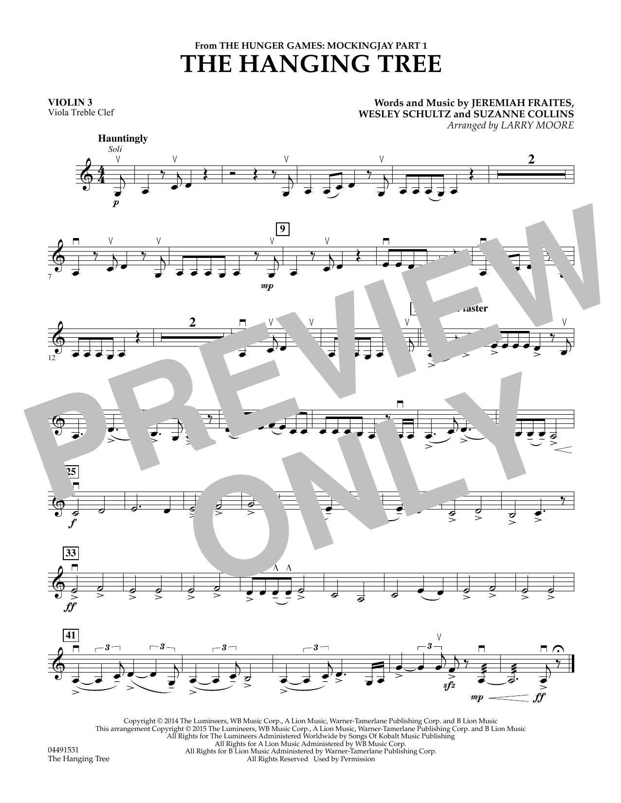 The Hanging Tree - Violin 3 (Viola Treble Clef) (Orchestra)