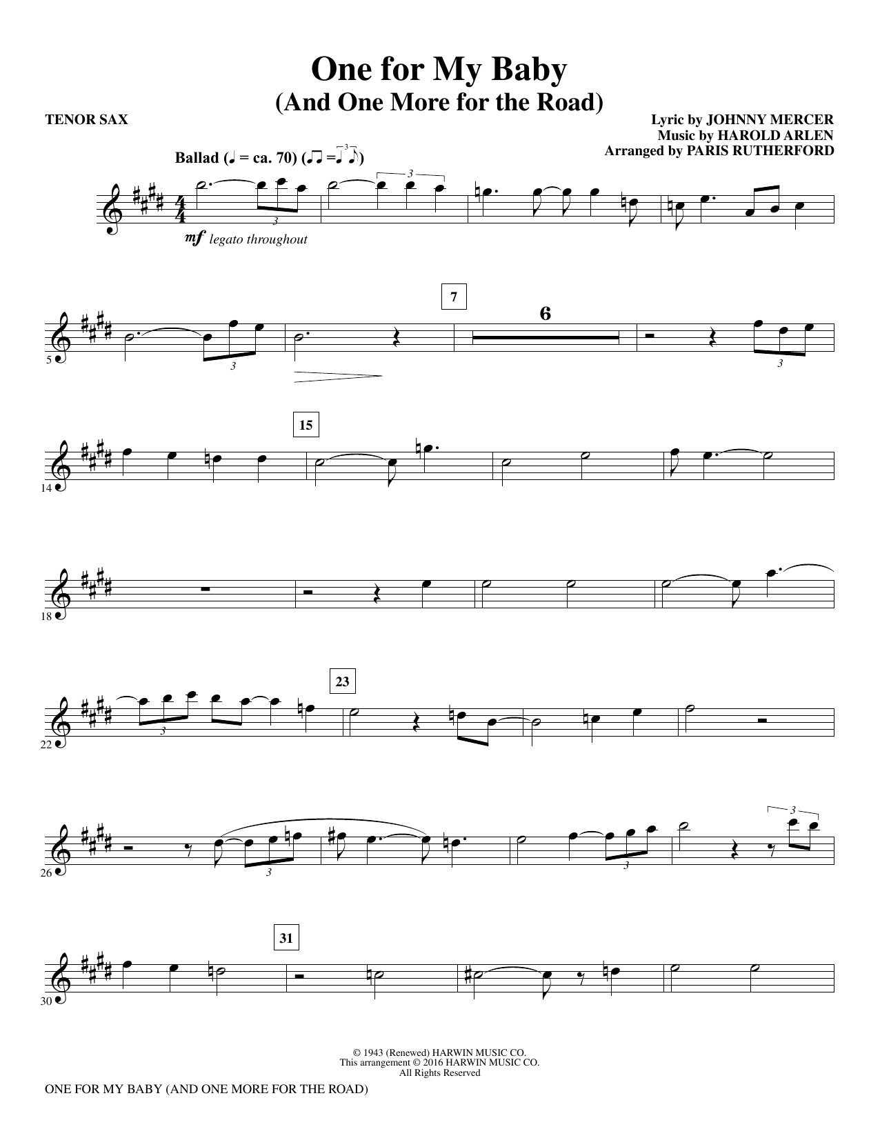 One for My Baby (and One More for the Road) - Bb Tenor Saxophone (Choir Instrumental Pak)