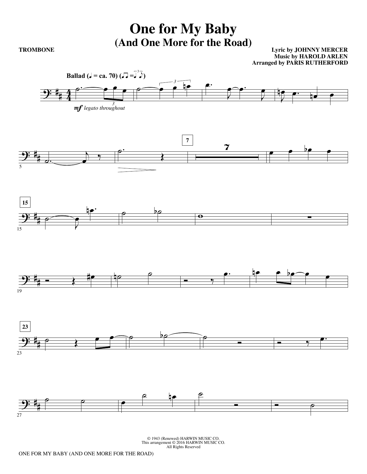 One for My Baby (and One More for the Road) - Trombone (Choir Instrumental Pak)