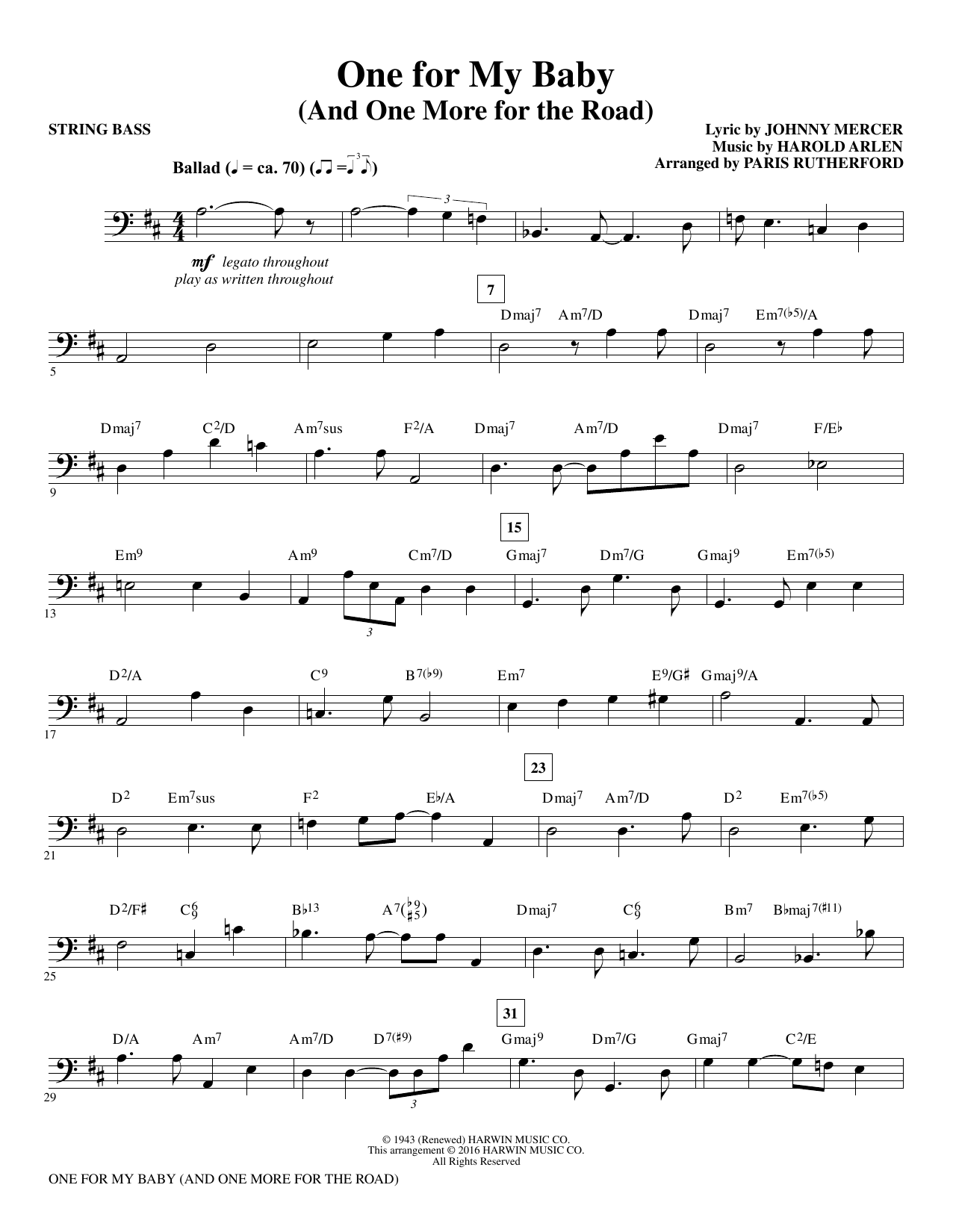One for My Baby (and One More for the Road) - Bass (Choir Instrumental Pak)