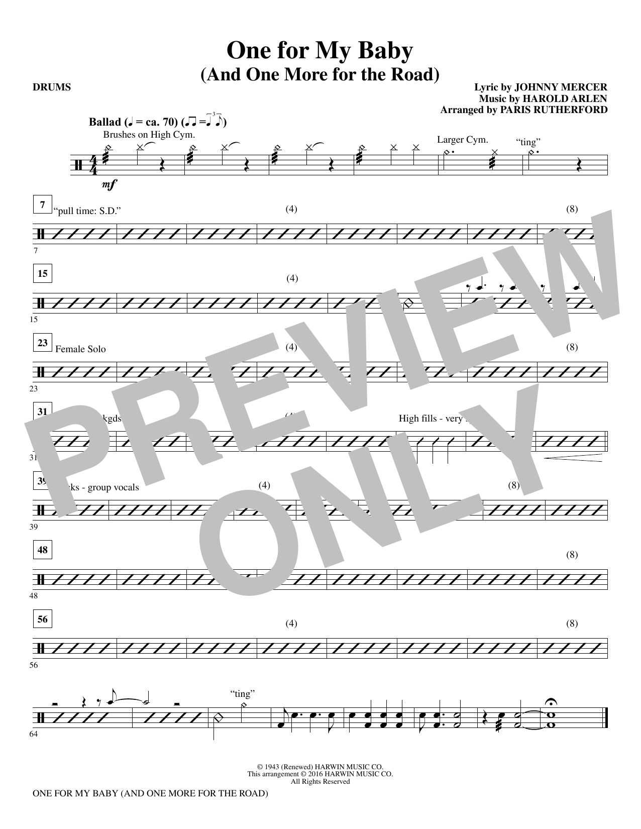 One for My Baby (and One More for the Road) - Drums (Choir Instrumental Pak)