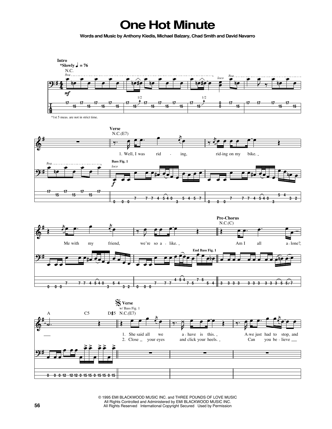 Tablature guitare One Hot Minute de Red Hot Chili Peppers - Tablature Basse
