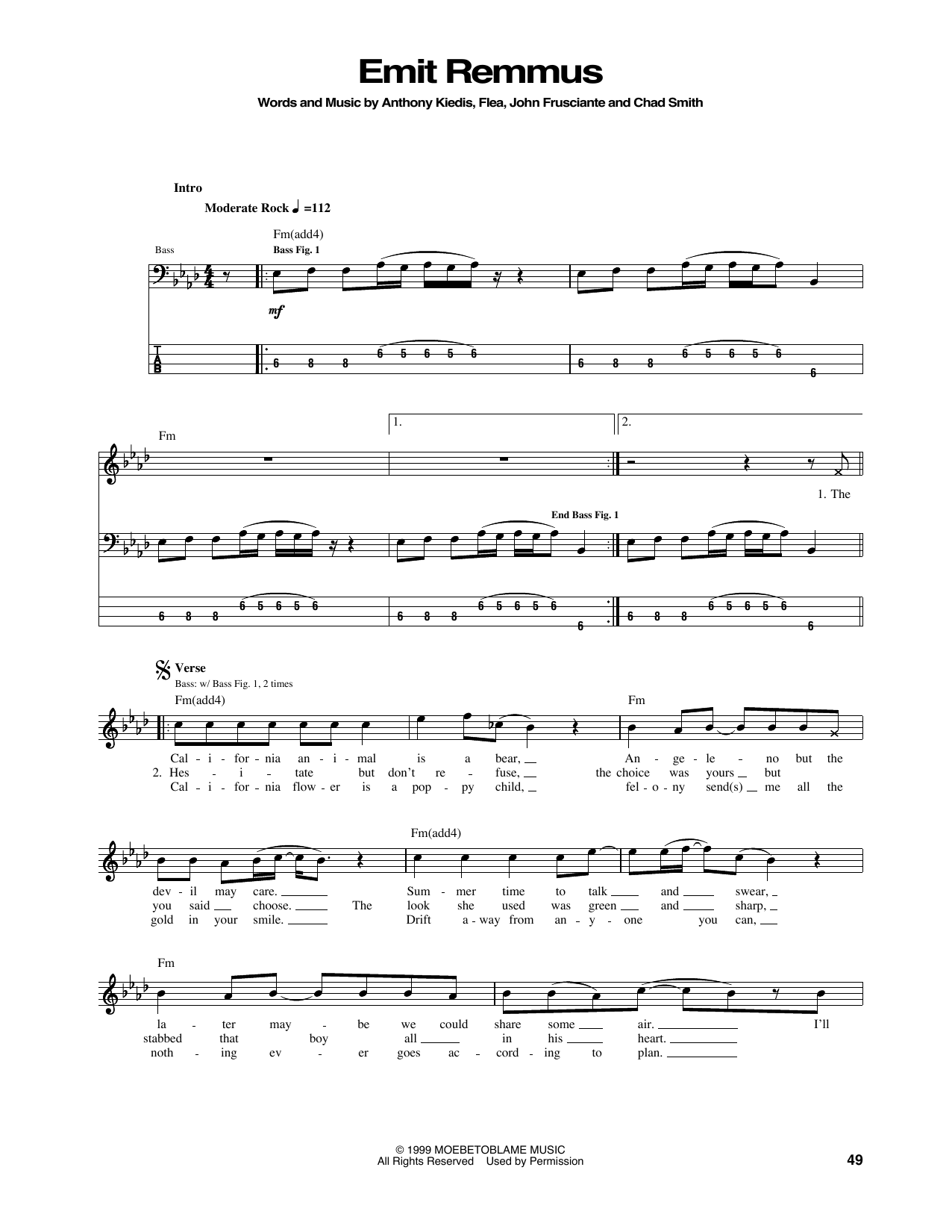 Tablature guitare Emit Remmus de Red Hot Chili Peppers - Tablature Basse