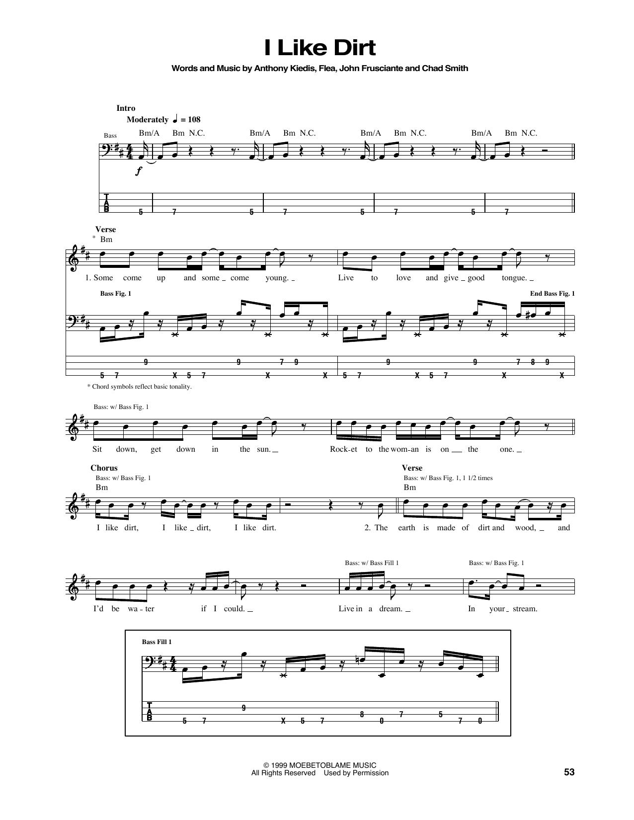 Tablature guitare I Like Dirt de Red Hot Chili Peppers - Tablature Basse