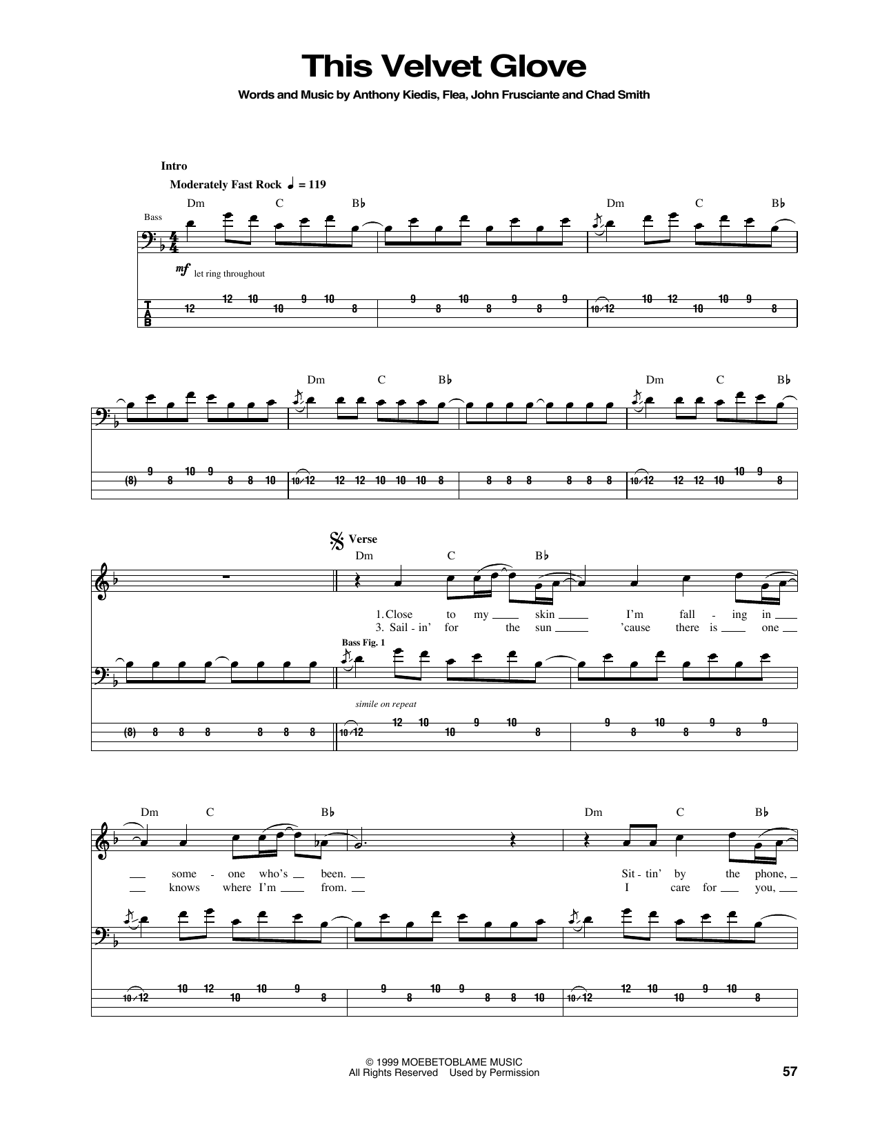 Tablature guitare This Velvet Glove de Red Hot Chili Peppers - Tablature Basse
