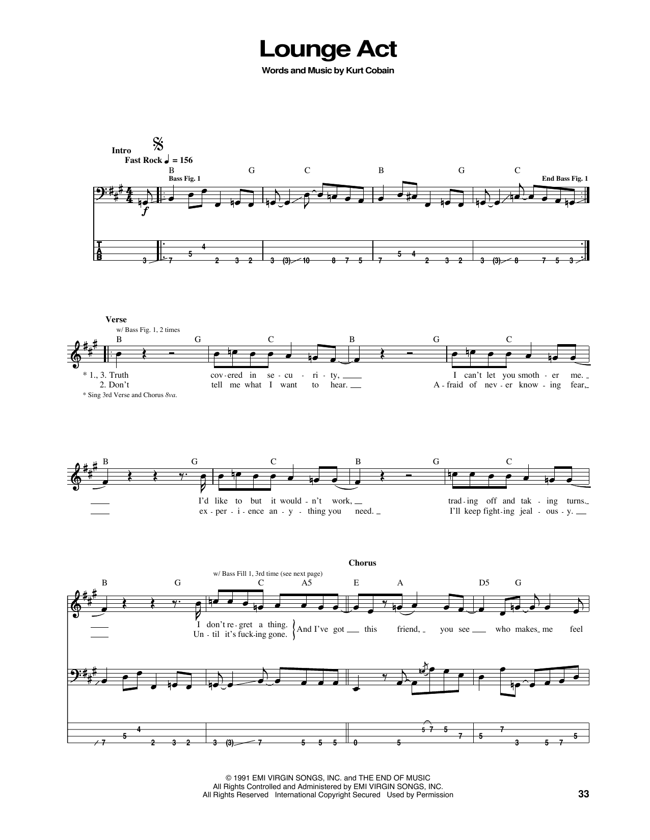 Lounge Act Sheet Music
