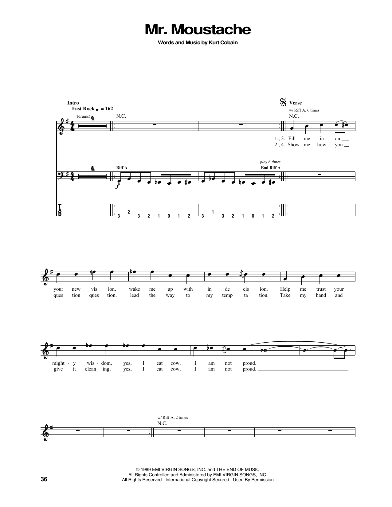 Tablature guitare Mr. Moustache de Nirvana - Tablature Basse