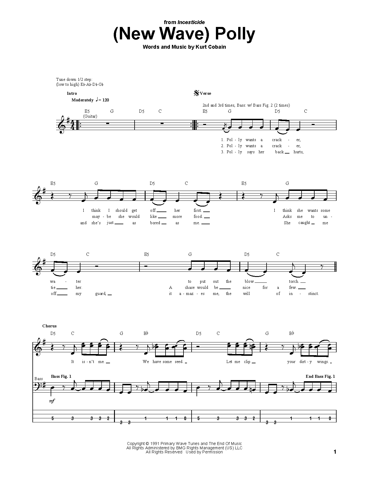 Tablature guitare (New Wave) Polly de Nirvana - Tablature Basse