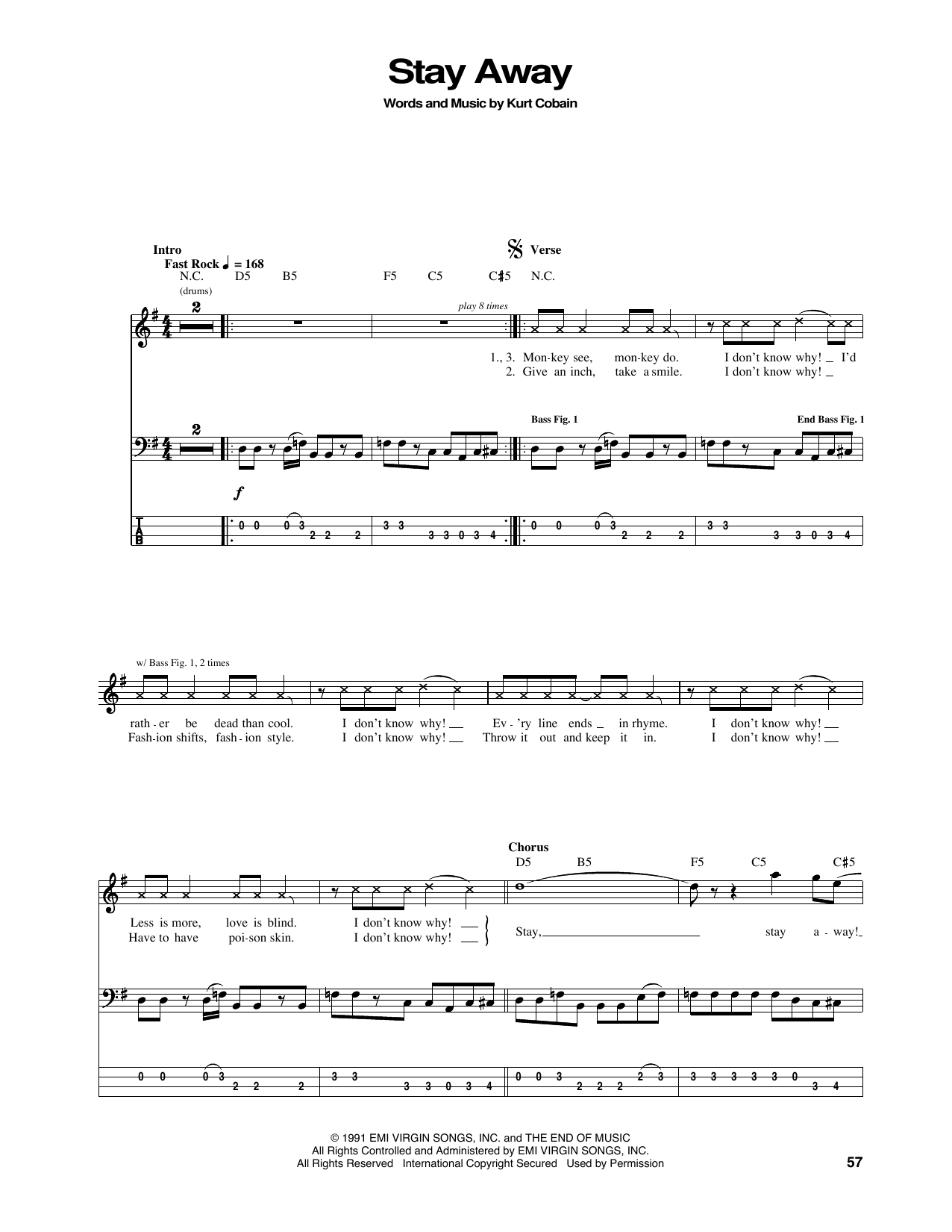 Stay Away Sheet Music