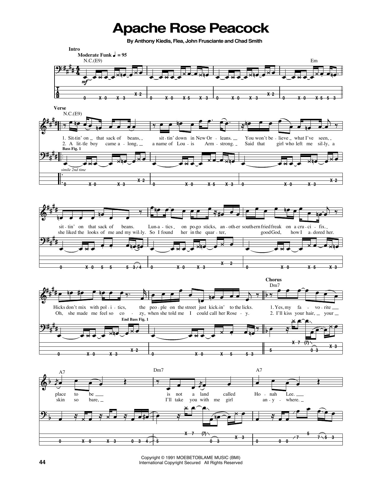 Apache Rose Peacock Sheet Music