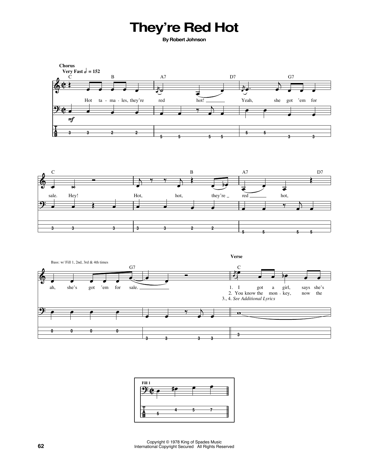 Tablature guitare They're Red Hot de Red Hot Chili Peppers - Tablature Basse