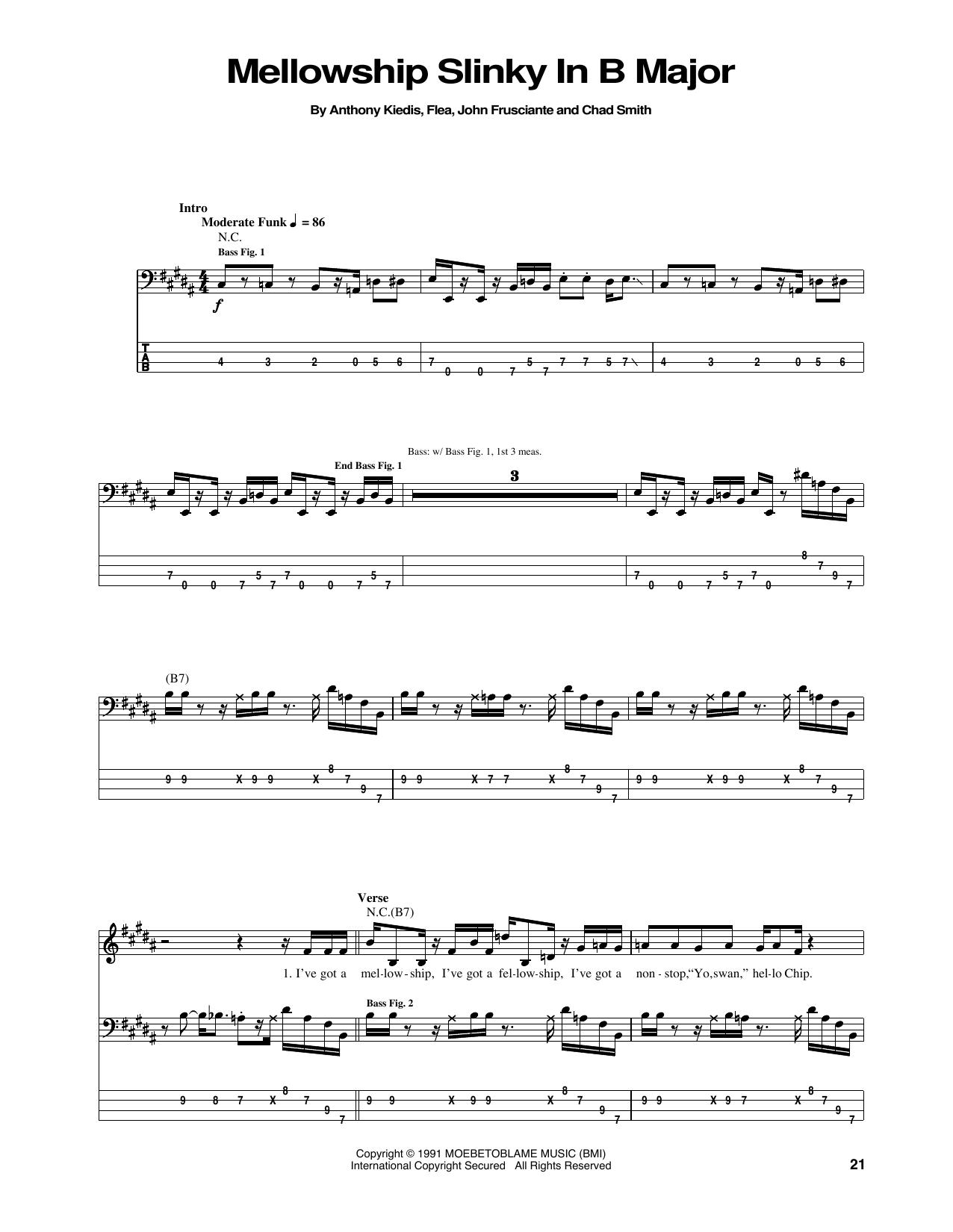 Mellowship Slinky In B Major (Bass Guitar Tab)