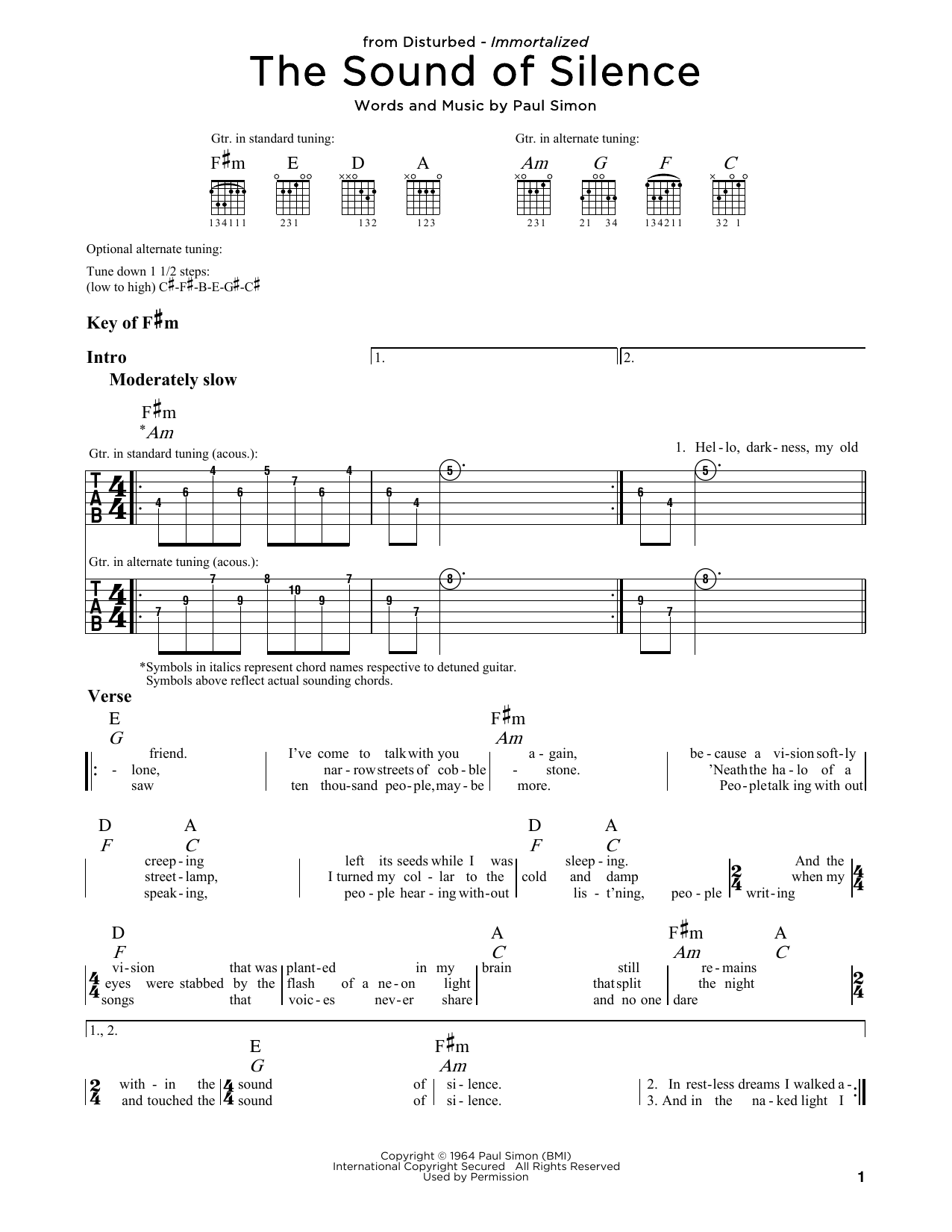 The Sound Of Silence (Guitar Lead Sheet)