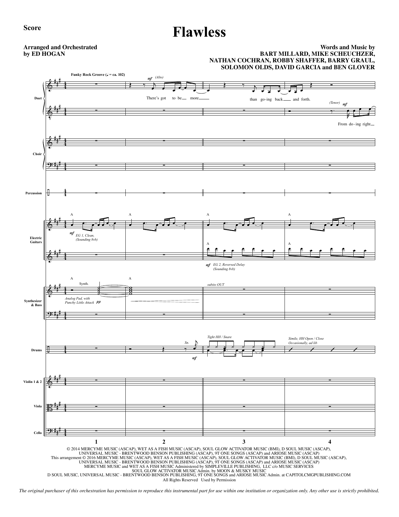 Flawless (COMPLETE) sheet music for orchestra/band by Ed Hogan, Barry Graul, Bart Millard, Ben Glover, David Garcia, MercyMe, Mike Scheuchzer, Robshaffer and Solomon Olds. Score Image Preview.
