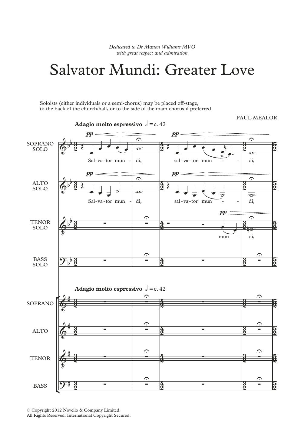 Salvator Mundi: Greater Love Sheet Music