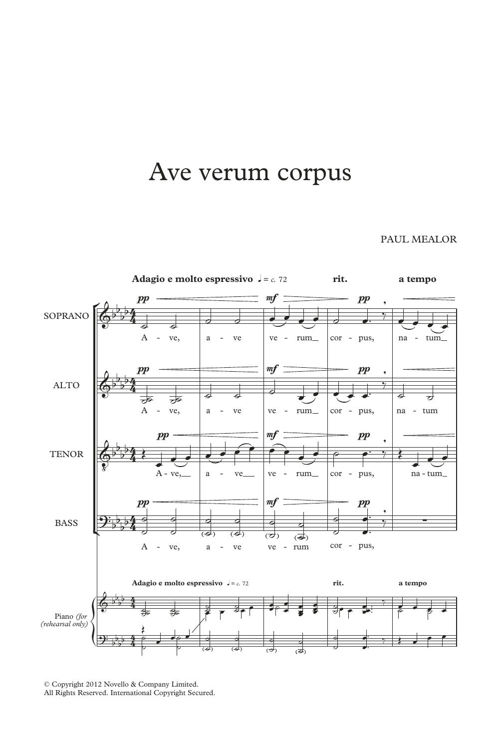 Ave Verum Corpus Sheet Music
