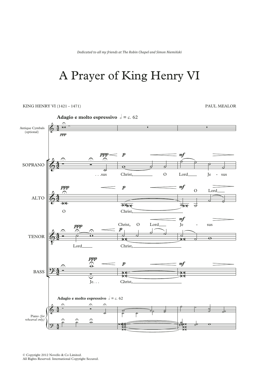 A Prayer Of King Henry VI Sheet Music