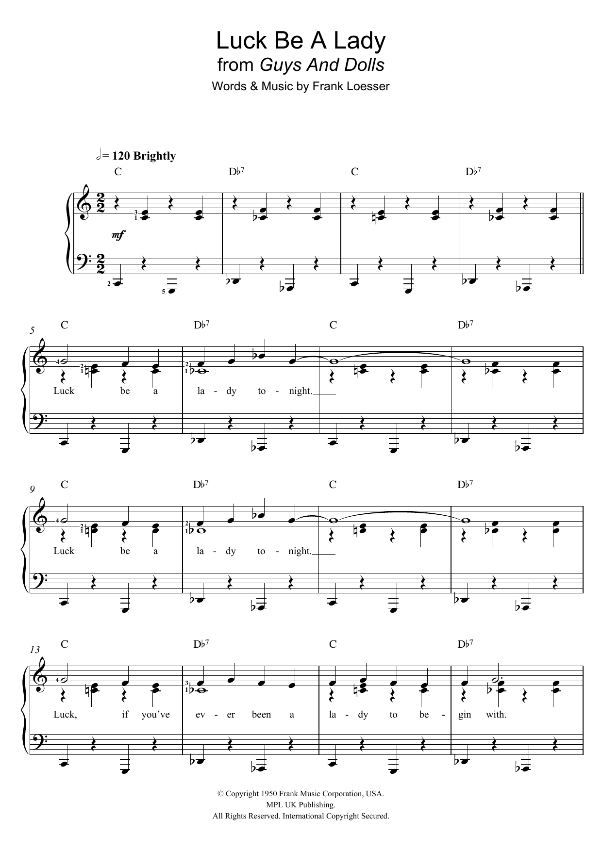 Luck Be A Lady (from 'Guys and Dolls') (Piano & Vocal)