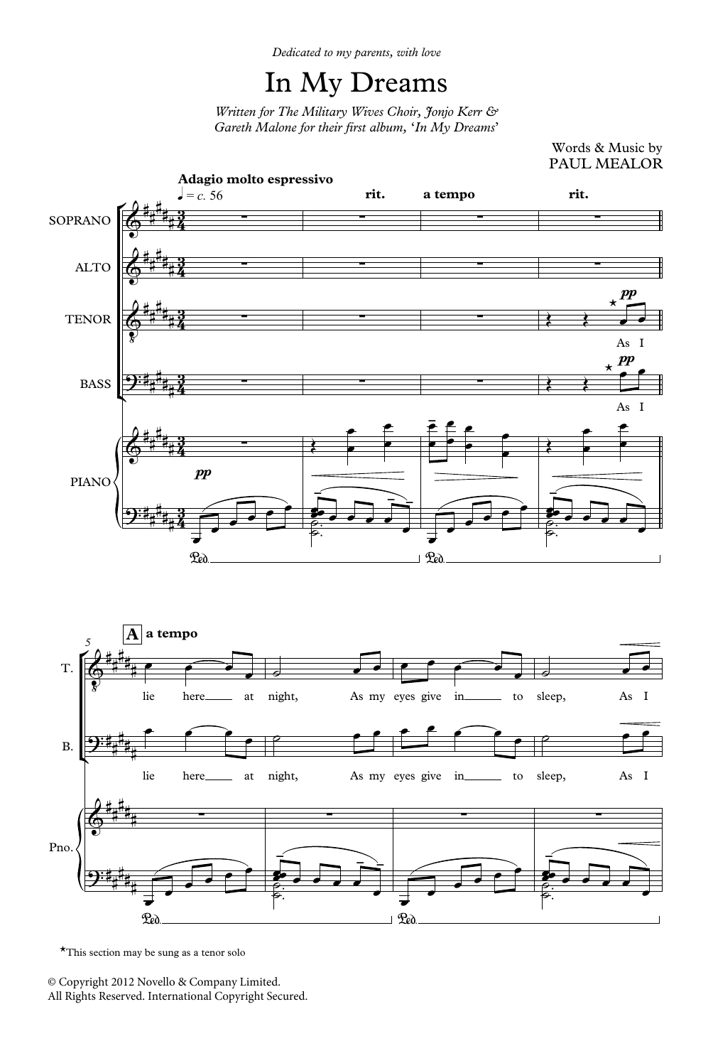 In My Dreams Sheet Music