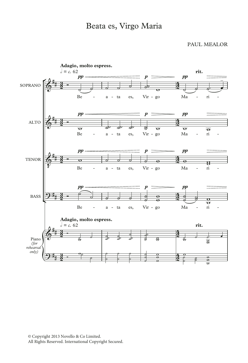 Beata Es Virgo Maria Sheet Music