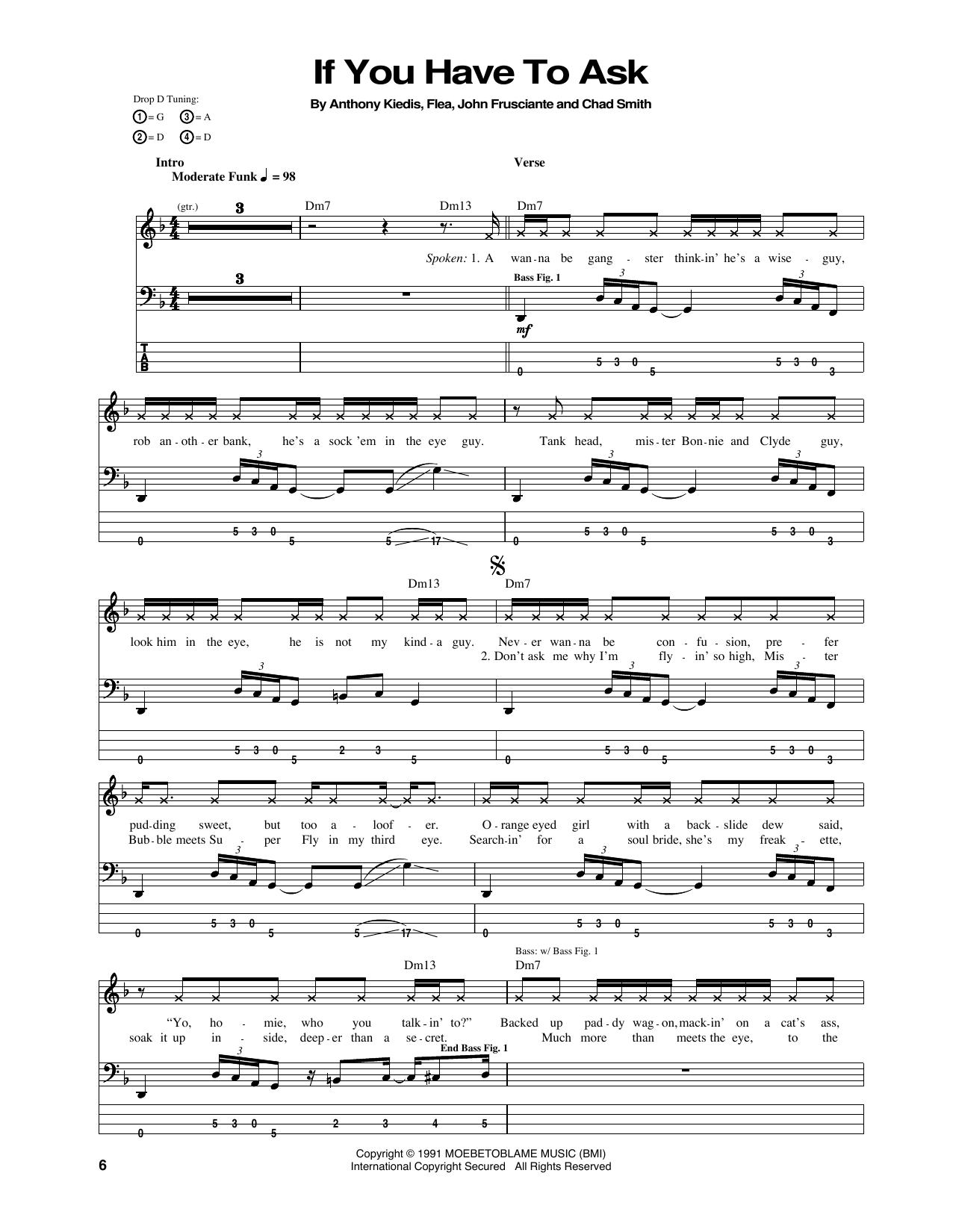 Tablature guitare If You Have To Ask de Red Hot Chili Peppers - Tablature Basse
