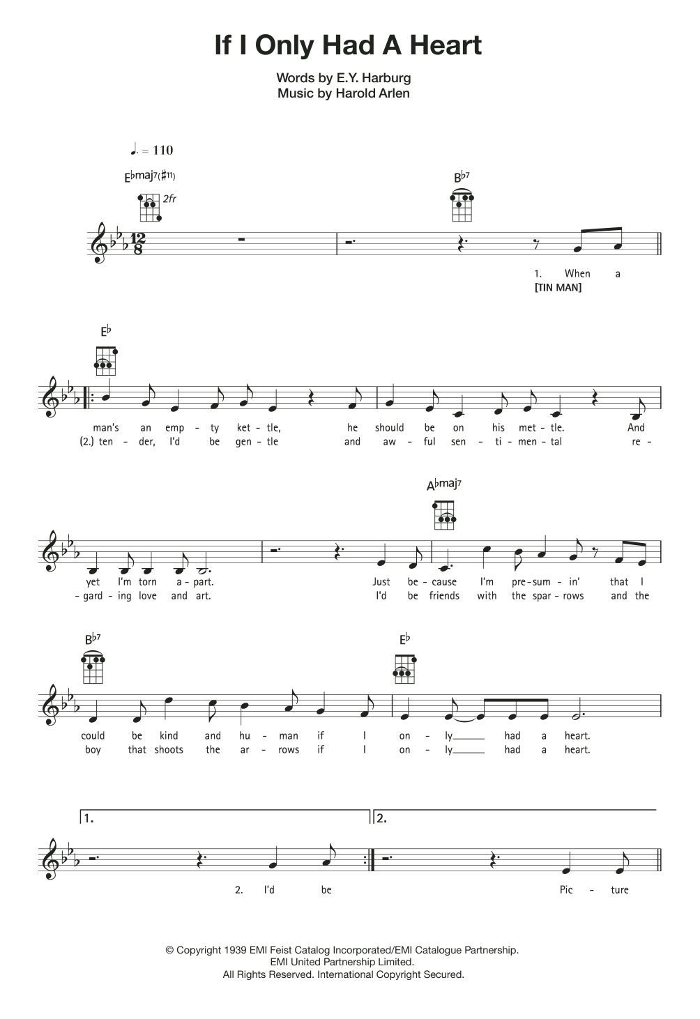 If I Only Had A Heart Sheet Music