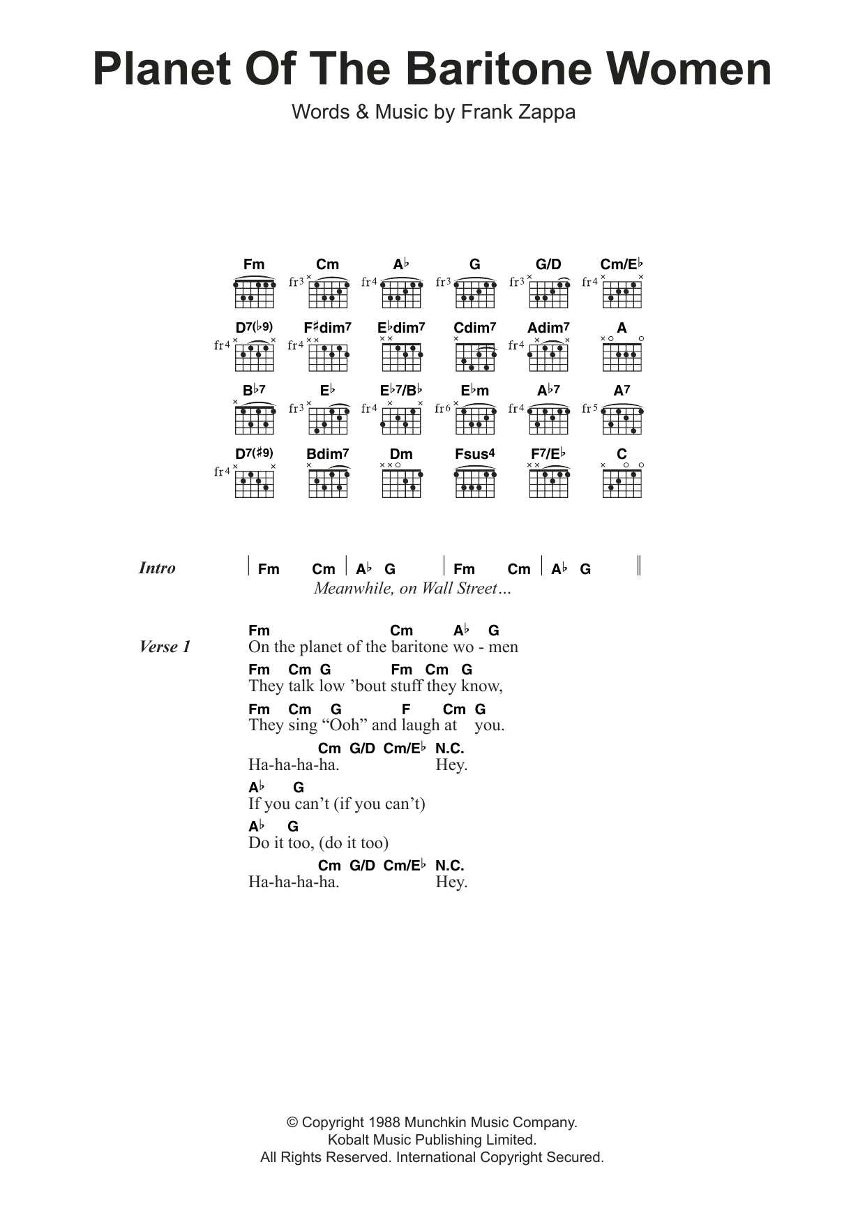 Planet Of The Baritone Women Sheet Music
