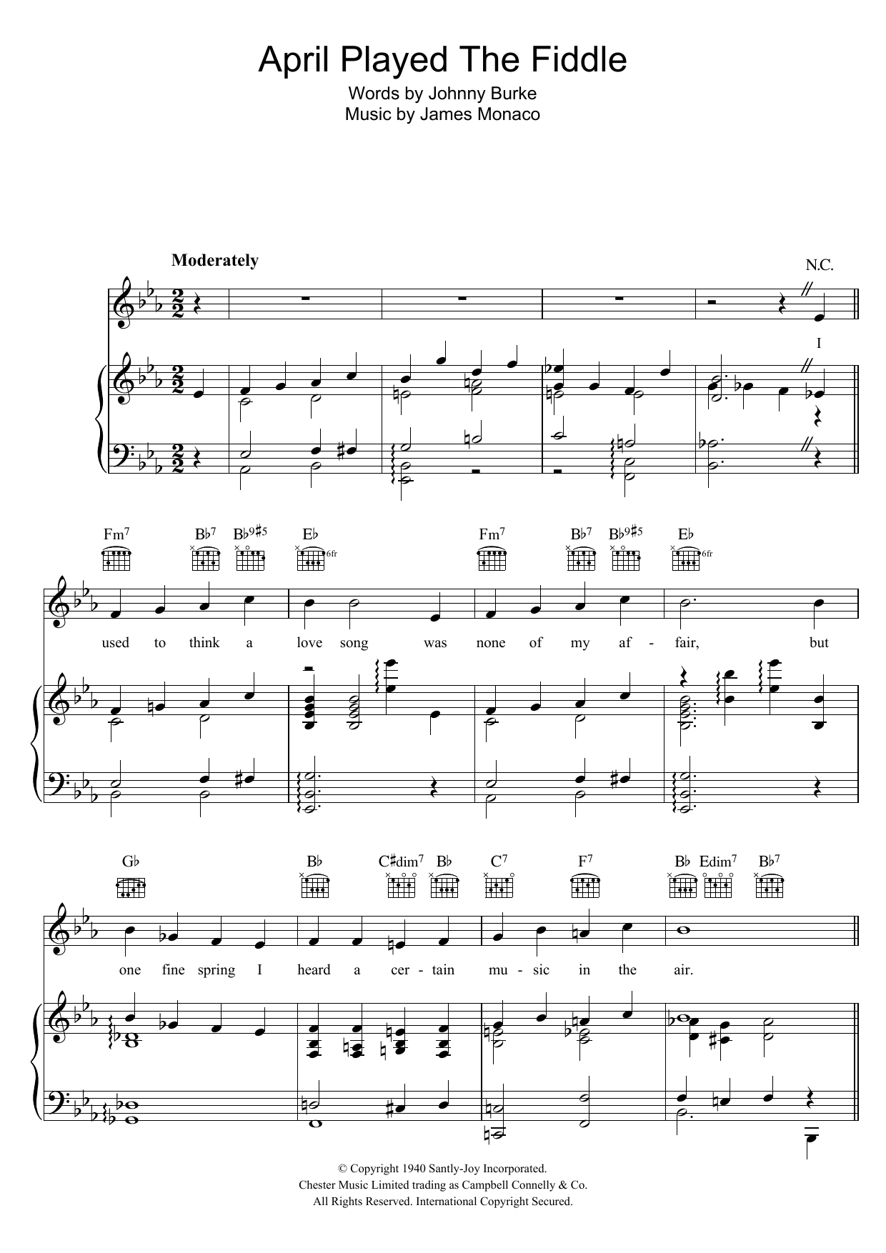 April Played The Fiddle Sheet Music