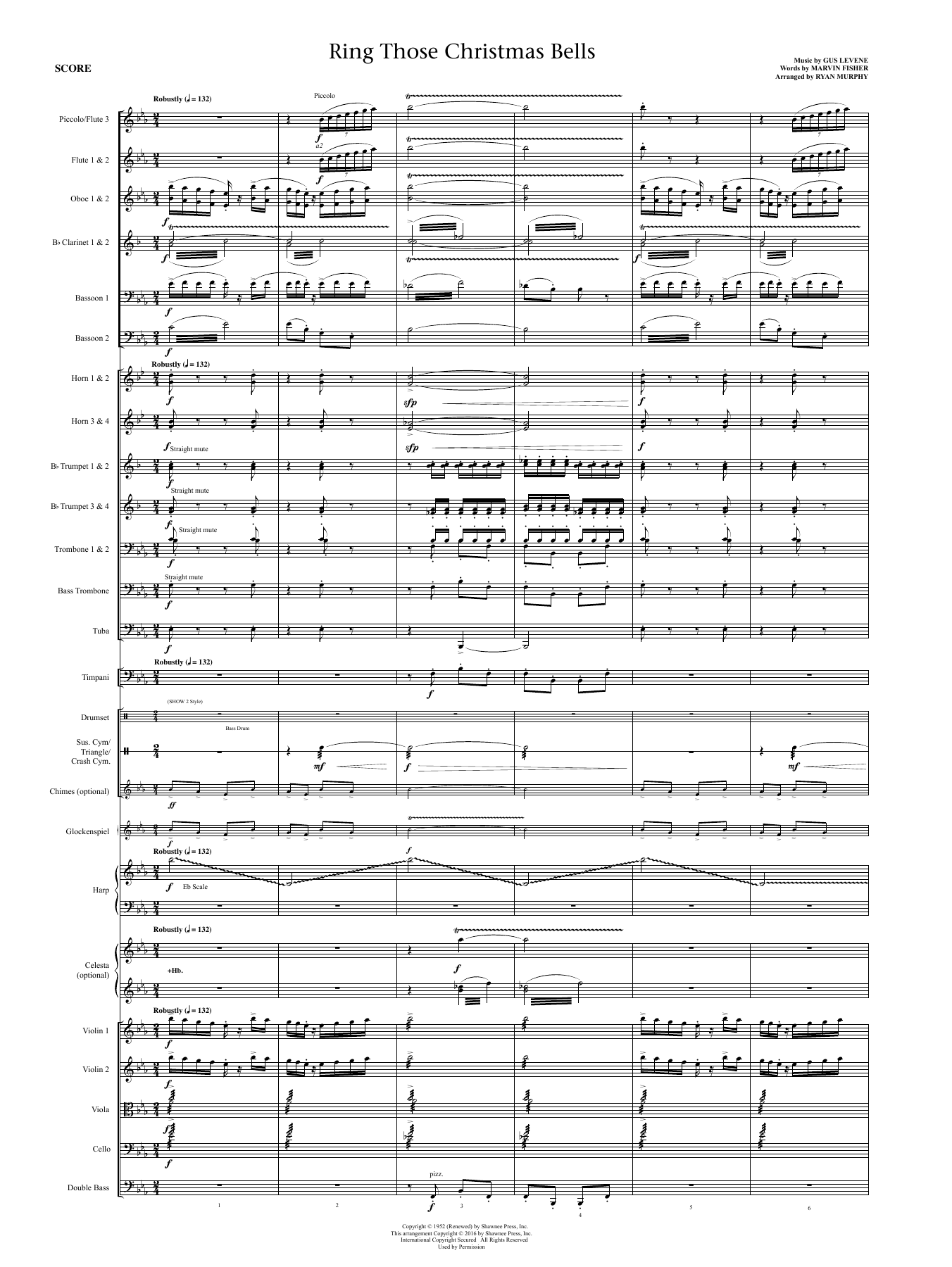 Ring Those Christmas Bells (COMPLETE) sheet music for orchestra/band by Peggy Lee and Marvin Fisher. Score Image Preview.