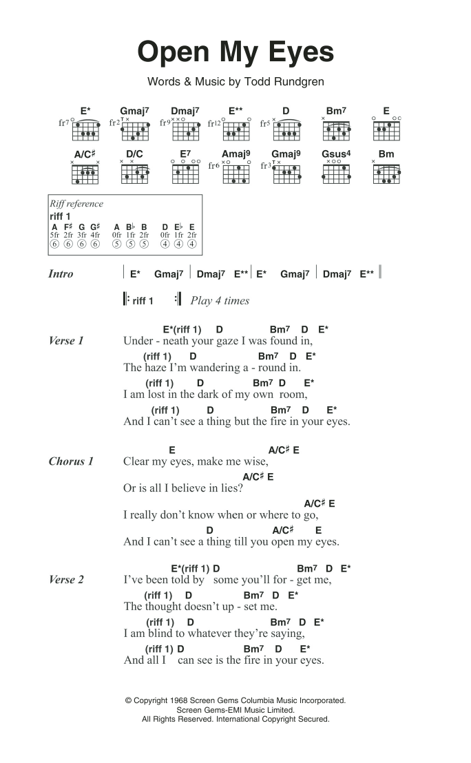 Open My Eyes By The Nazz Guitar Chordslyrics Guitar Instructor