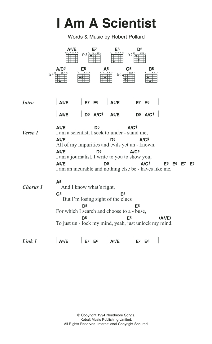 I Am A Scientist Sheet Music Guided By Voices Lyrics Chords