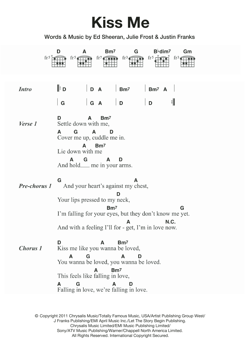 Kiss Me Sheet Music