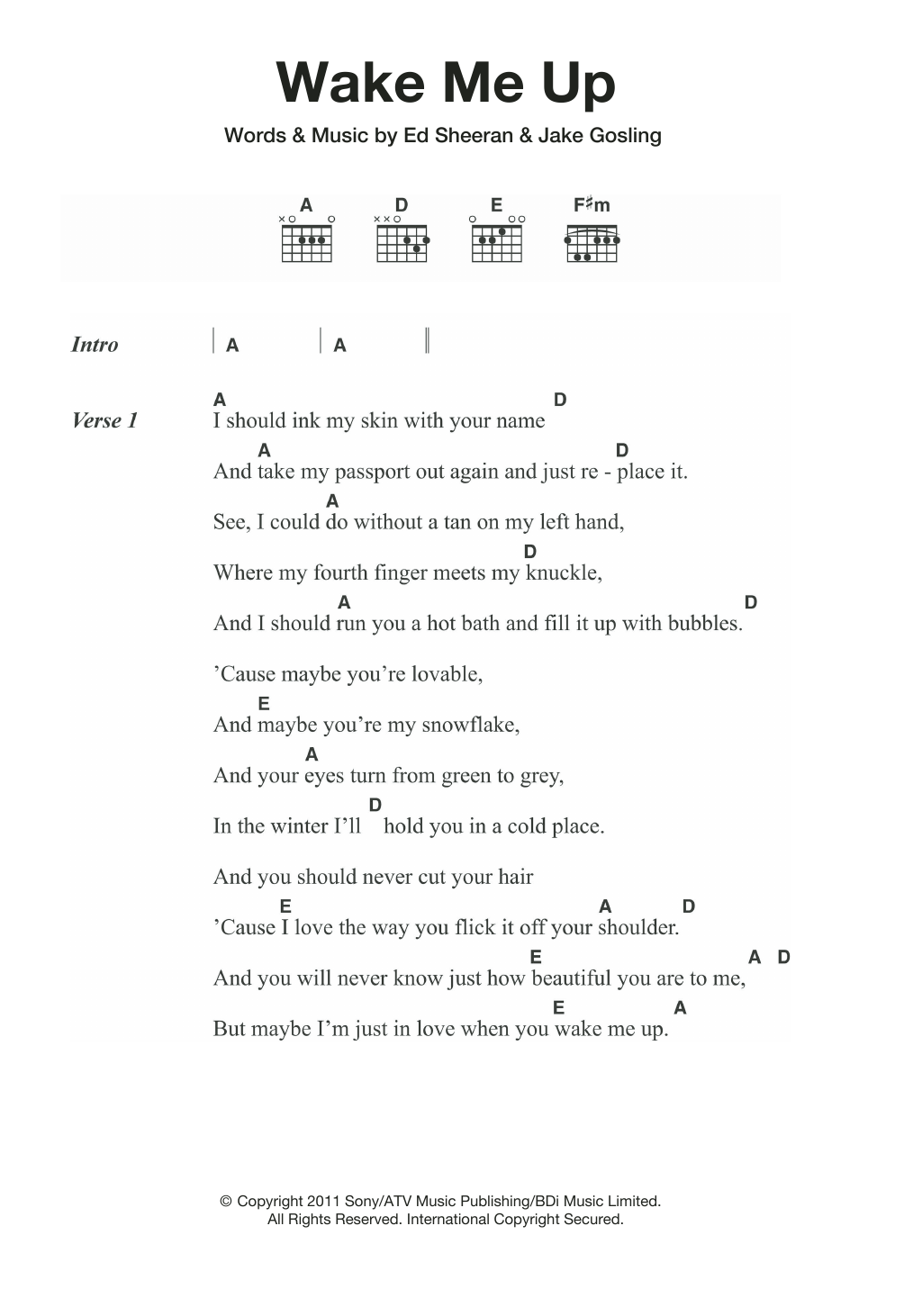 Wake Me Up By Ed Sheeran Guitar Chordslyrics Guitar Instructor