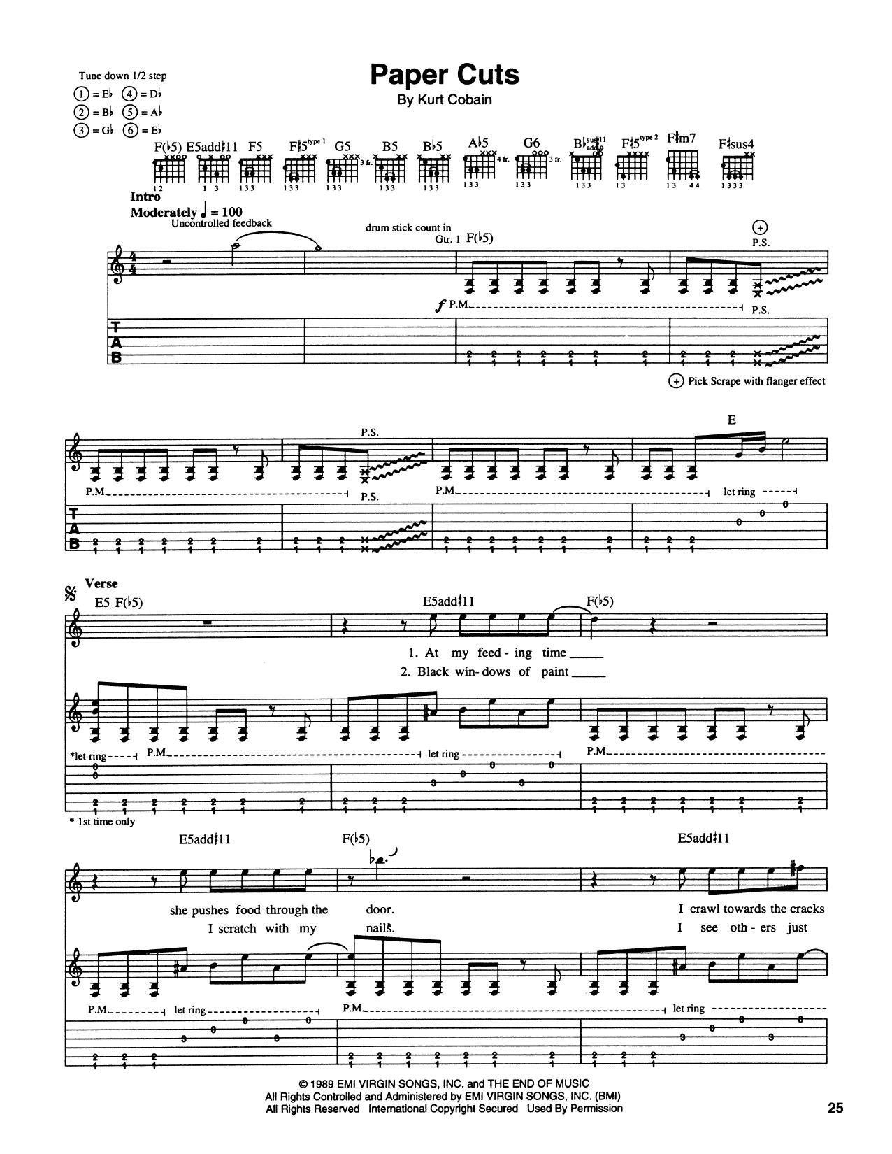 Paper Cuts (Guitar Tab)