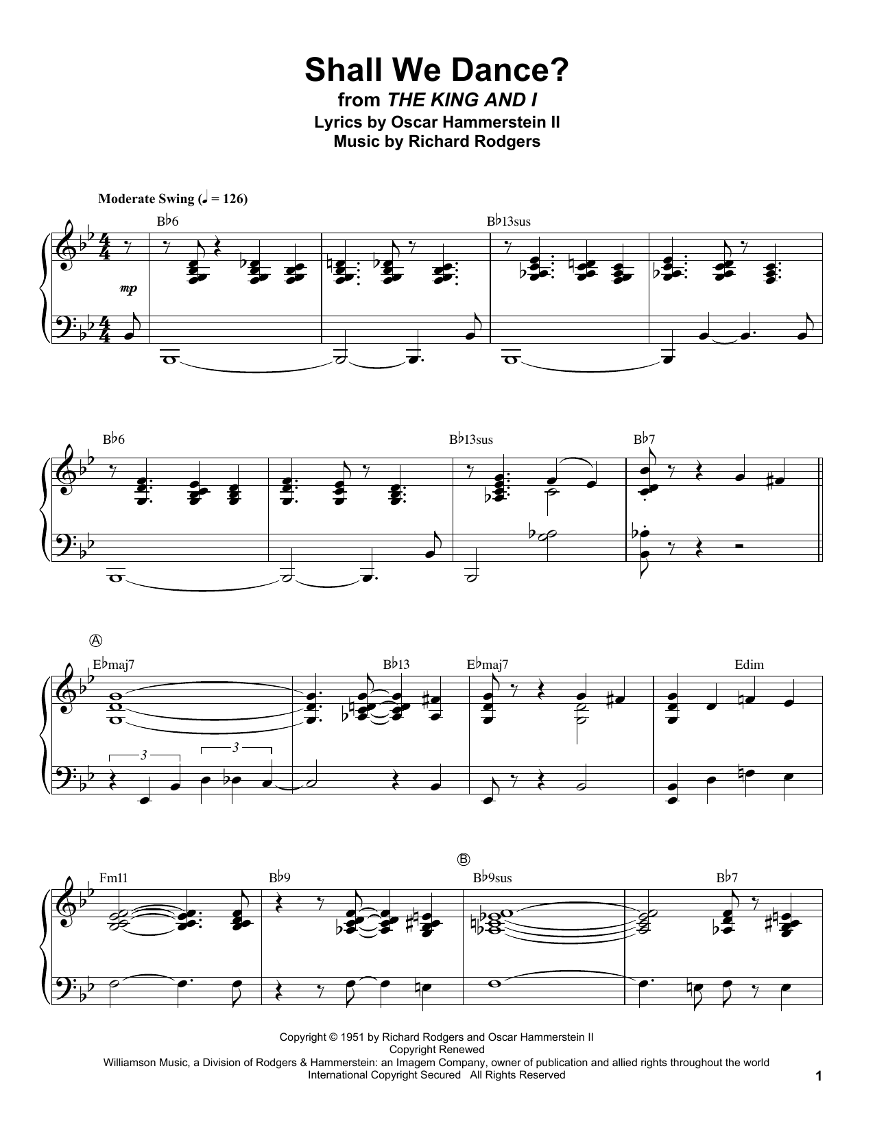 Shall We Dance? Sheet Music
