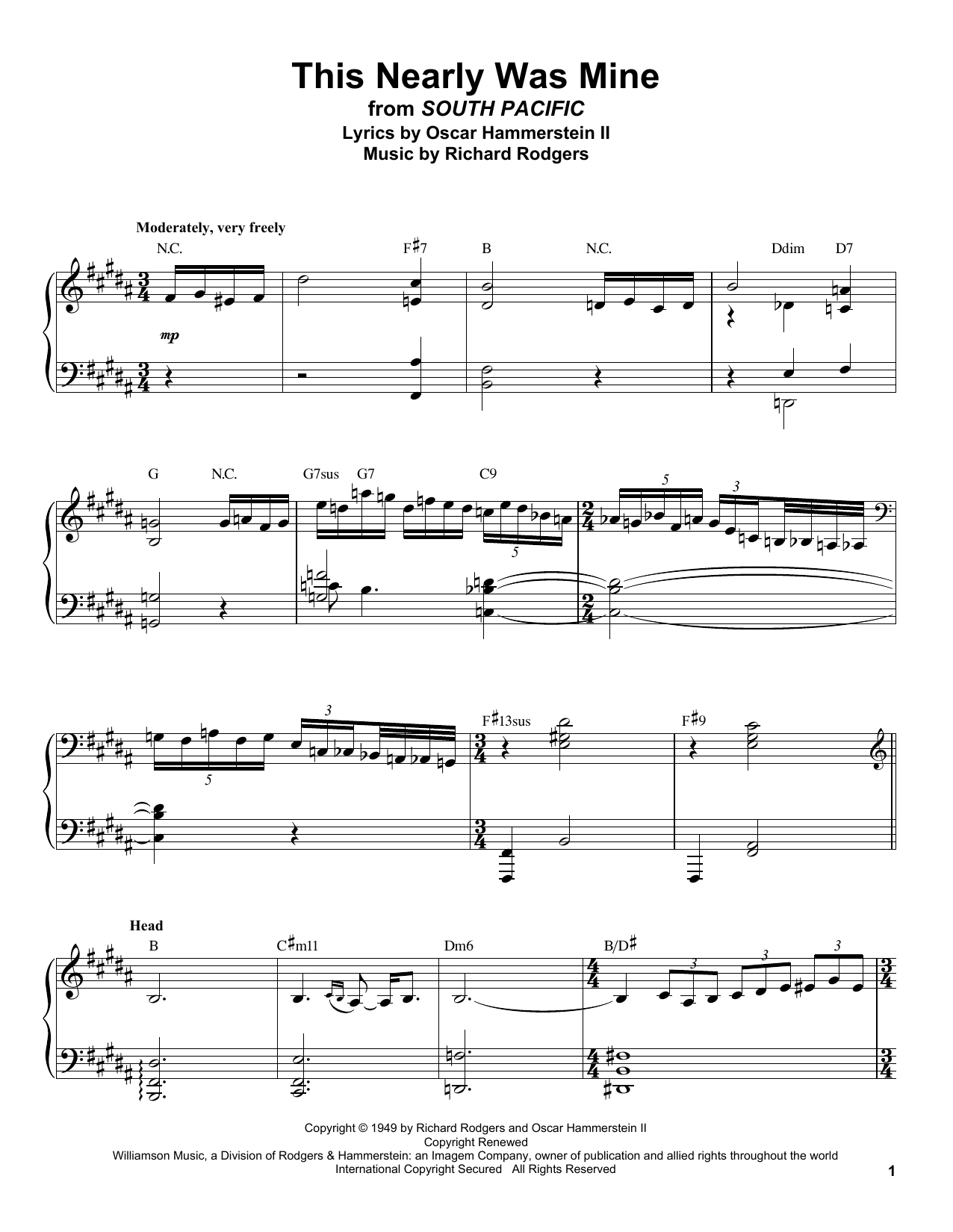 This Nearly Was Mine (Piano Transcription)