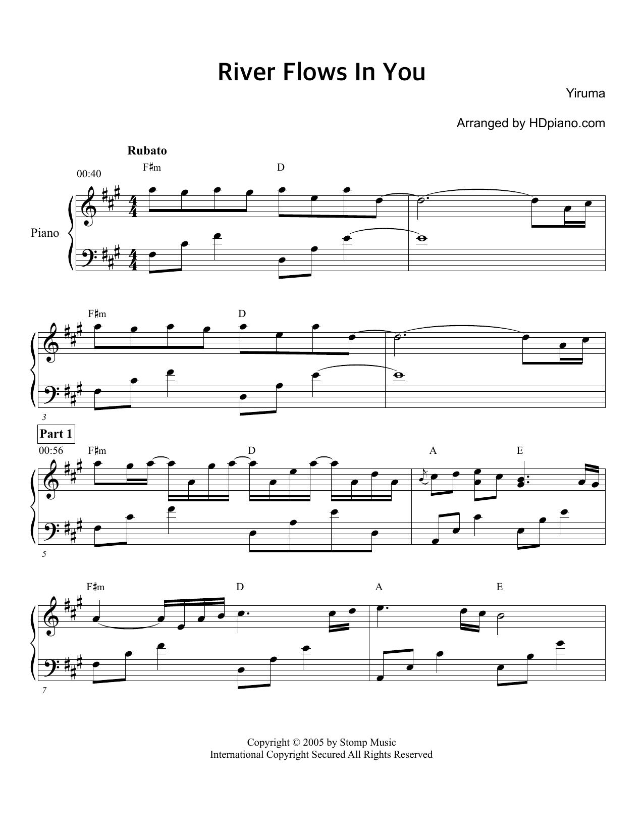 River flows in you sheet music direct river flows in you hexwebz Images