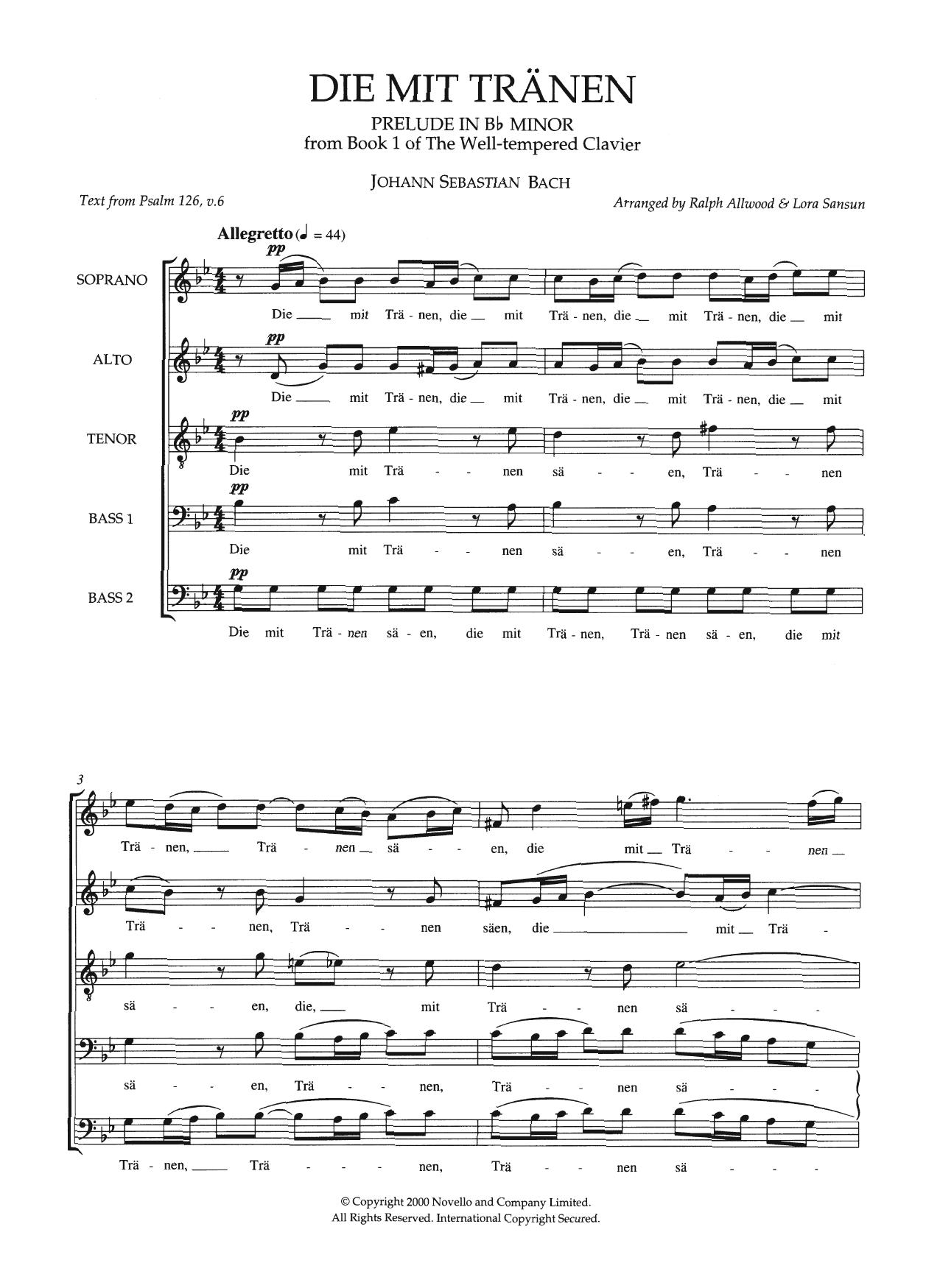 Die Mit Tranen (arr. Ralph Allwood & Lora Sansun) Sheet Music