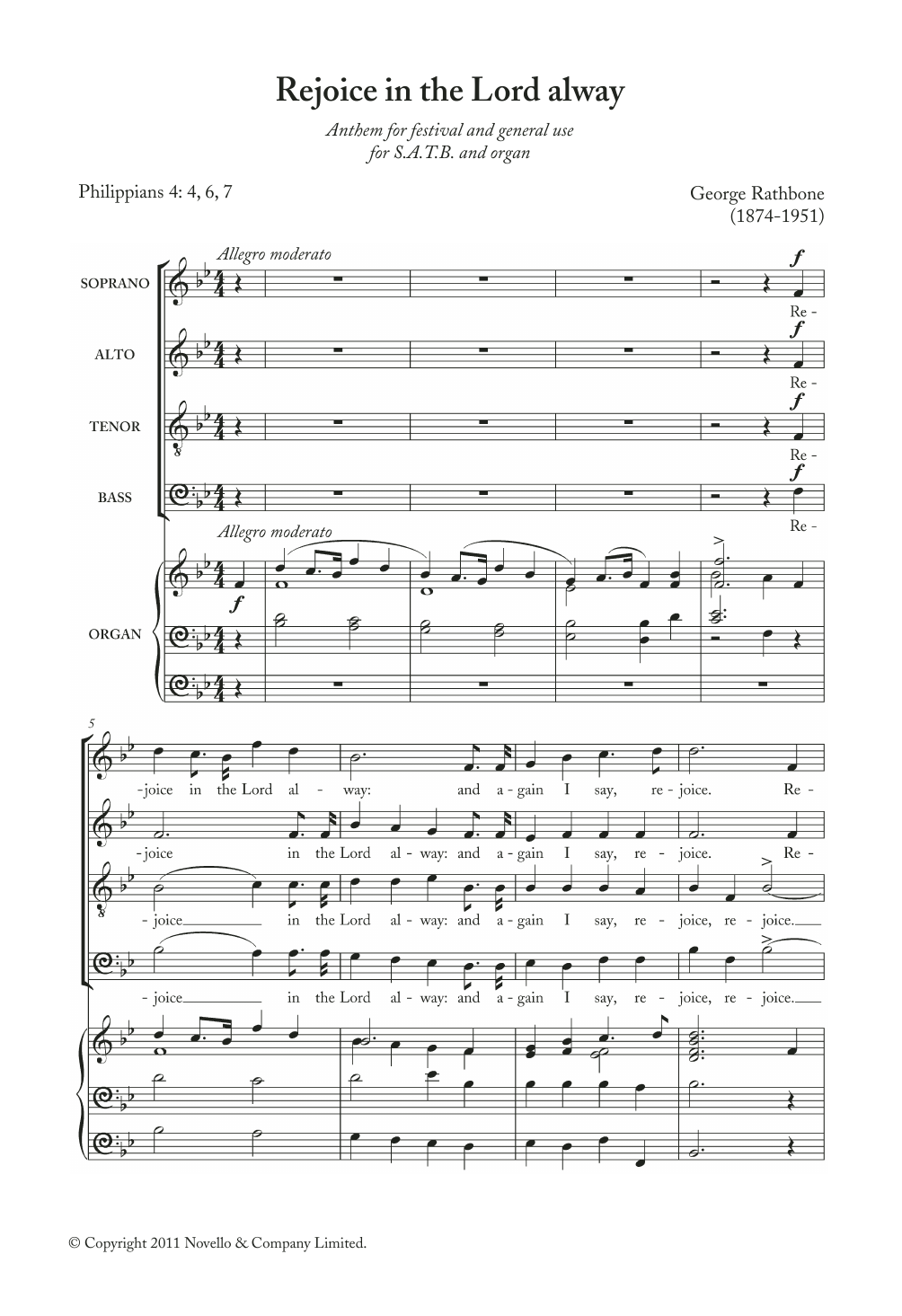Rejoice In The Lord Alway Sheet Music