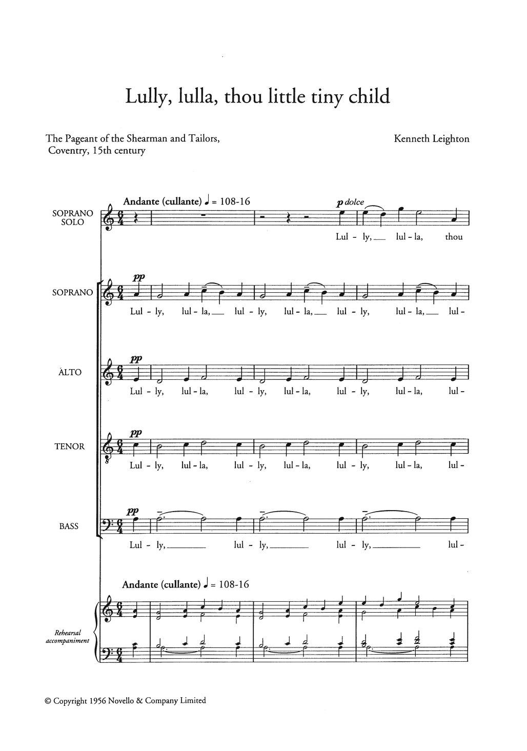 Lully, Lulla, Thou Little Tiny Child Sheet Music