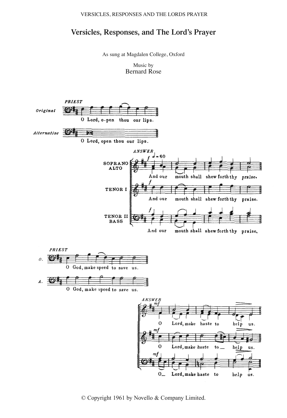 Versicles, Responses And The Lord's Prayer Sheet Music