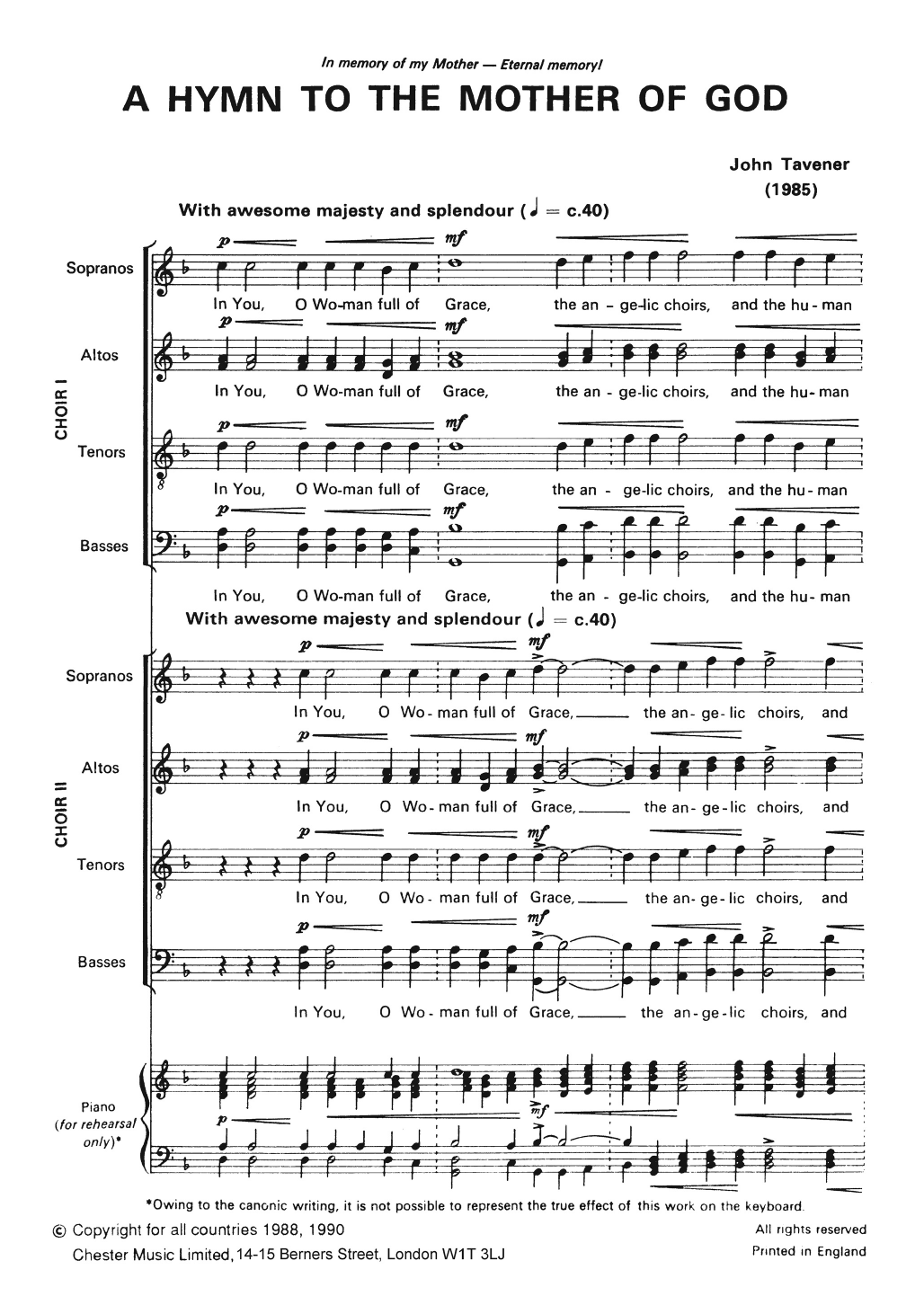 Two Hymns To The Mother Of God Sheet Music