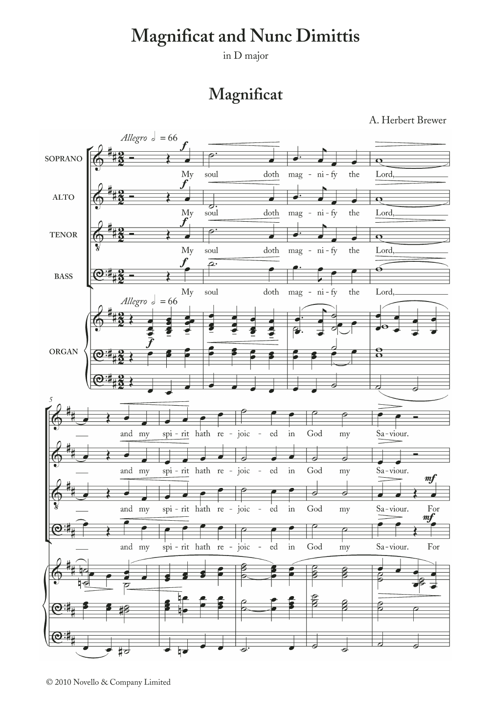 Magnificat And Nunc Dimittis In D Sheet Music