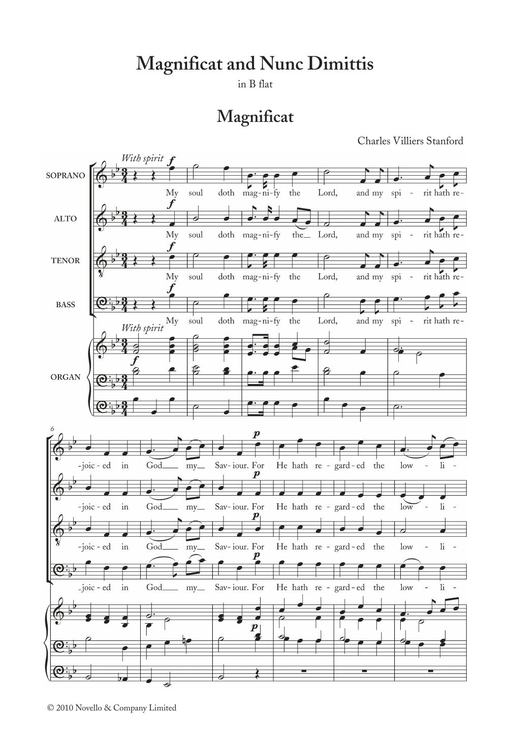 Magnificat And Nunc Dimittis In B Flat Sheet Music